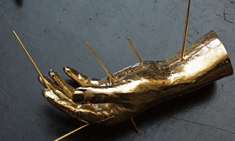 A gold sculpture was stolen from Christie's